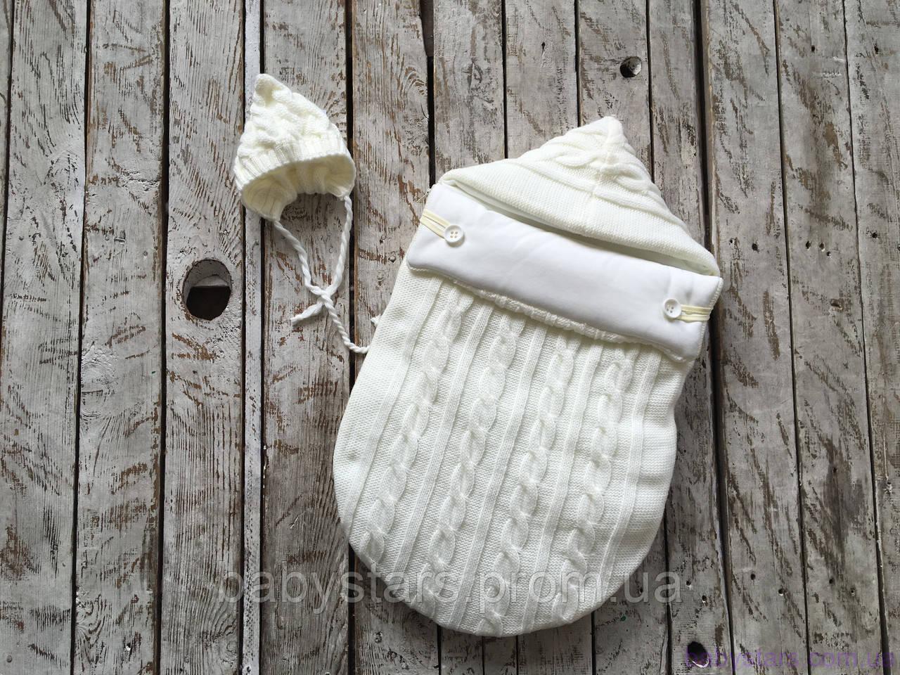 """Демисезонный вязаный набор для новорожденного """"Твикс"""" на трикотаже, молочного цвета"""