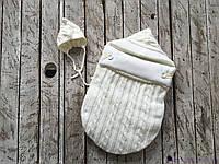 """Демисезонный вязаный набор для новорожденного """"Твикс"""" на трикотаже, молочного цвета, фото 1"""