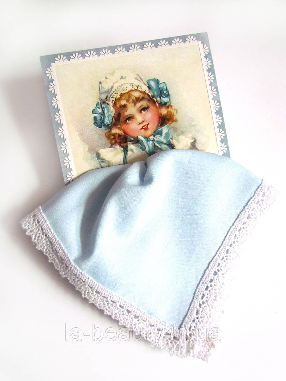 Подарочный носовой платок голубой на открытке