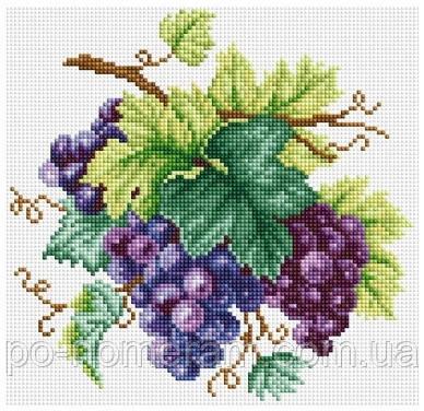 Рисование камнями на холсте Виноград