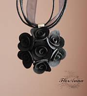 """Кулон с черными розочками """"Элегантный черный"""". Подарок девушке, фото 1"""