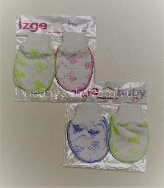 Царапки для новонароджених з узором нарядні 2 пари в комплекті 216834