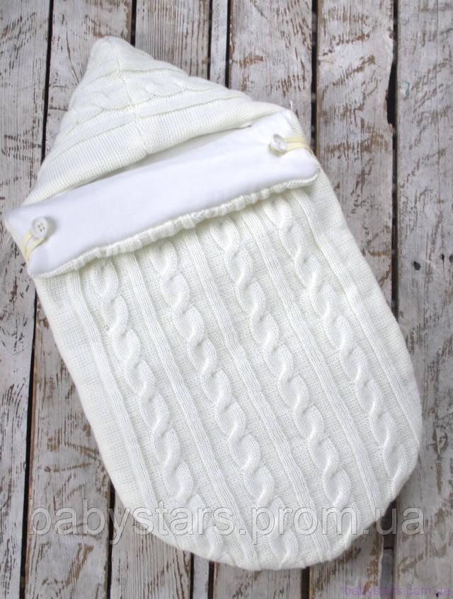 Демисезонный конверт-кокон для новорожденного на трикотаже