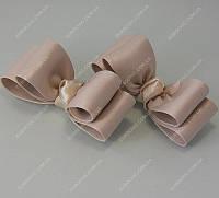 Клипсы на обувь свадебные Бантики бежевые класса Люкс