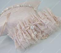 Подвязка невесты Pastel Nude пастельная бежево-пудровая класса Люкс
