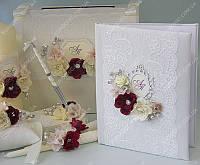 Папка для свидетельства Flowers & Сrystals бордо класса Люкс