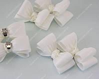 Клипсы на туфли свадебные Бантики молочные класса Люкс