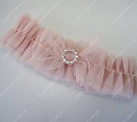 Подвязка невесты Dolce бежево-розовая  класса Люкс