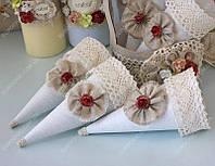 Кулечки для лепестков винтажные с цветком марсала  класса Люкс