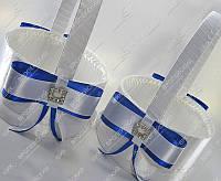 Корзинка для лепестков роз Мелодия любви бело-синяя класса Люкс