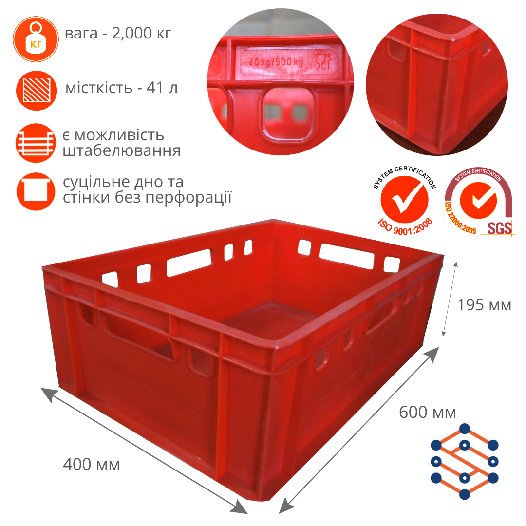 Пластиковый ящик красный оснащенный ручками со всех сторон 600х400х195 мм