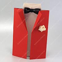 Пригласительные открытки Пиджак красные класса Люкс