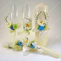 Свадебные аксессуары свечи и бокалы Цветение  класса Люкс