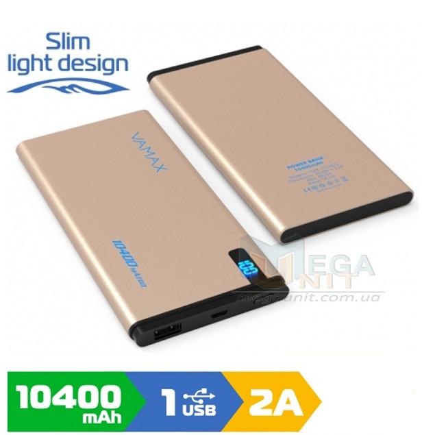 Внешний аккумулятор (Power Bank) Vamax vmx1822 10400mAh, цифровой индикатор, металл Rose gold