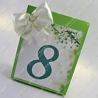 Банкетные карточки с номерами столов Нарядные молочно-зеленые класса Люкс