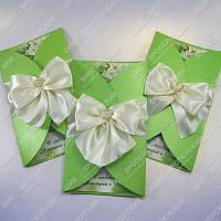 Приглашения на свадьбу Нарядные молочно-зеленые класса Люкс
