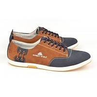 Кроссовки мужские кожаные синие, коричневые на шнуровке Simon, Украина, Коричневый, 43