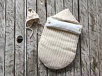 """Демисезонный вязаный набор для новорожденного """"Твикс"""" на трикотаже, бежевого цвета, фото 1"""