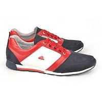 Кроссовки мужские кожаные синие белые красные на шнуровке Leonardo Украина, Красный, 43