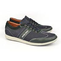 Кроссовки мужские кожаные темно-синие на шнуровке Porter Украина, Синий, 44