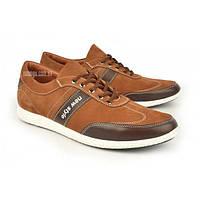Кроссовки кожаные мужские коричневые на шнуровке Cooper Украина, Коричневый, 43