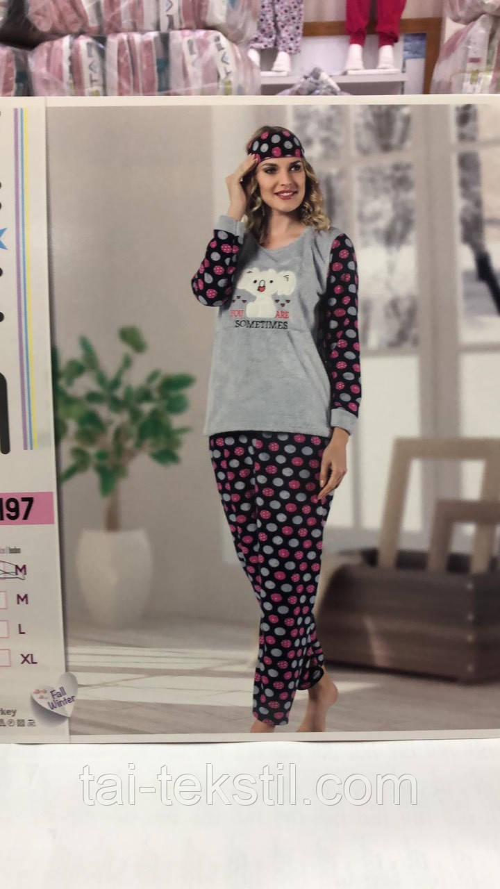 Пижама женская махра+флис и повязка для сна STAR