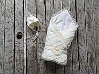 """Демисезонный вязаный набор для новорожденного """"Дует"""" на трикотаже, молочного цвета, фото 1"""