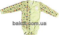 Детское боди рост 56 (0-2 мес.) интерлок салатовый на мальчика с длинным рукавом для новорожденных С-042