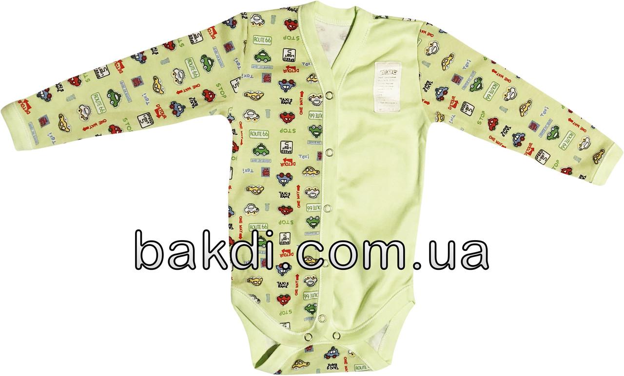Детское боди на мальчика рост 68 3-6 мес для новорожденных трикотажное с длинным рукавом интерлок салатовое