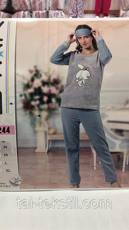 Пижама женская махра+флис и повязка для сна STAR, фото 2
