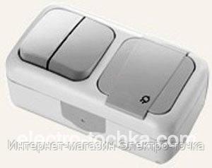 Комбинация розетки с заземлением и выключателя 2-кл.ViKO Palmiye