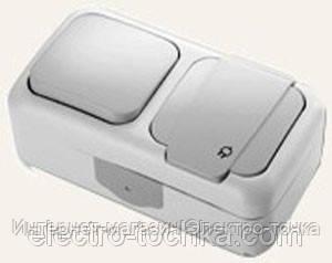 Комбинация розетки с заземлением и выключателя 1-кл.ViKO Palmiye