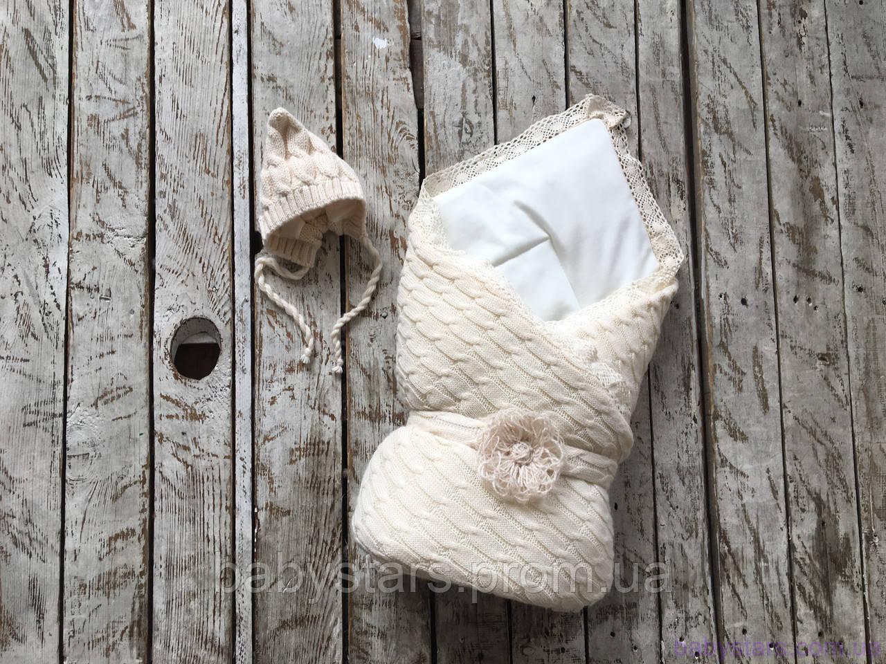 """Демисезонный вязаный набор для новорожденного """"Дует"""" на трикотаже, бежевого цвета"""
