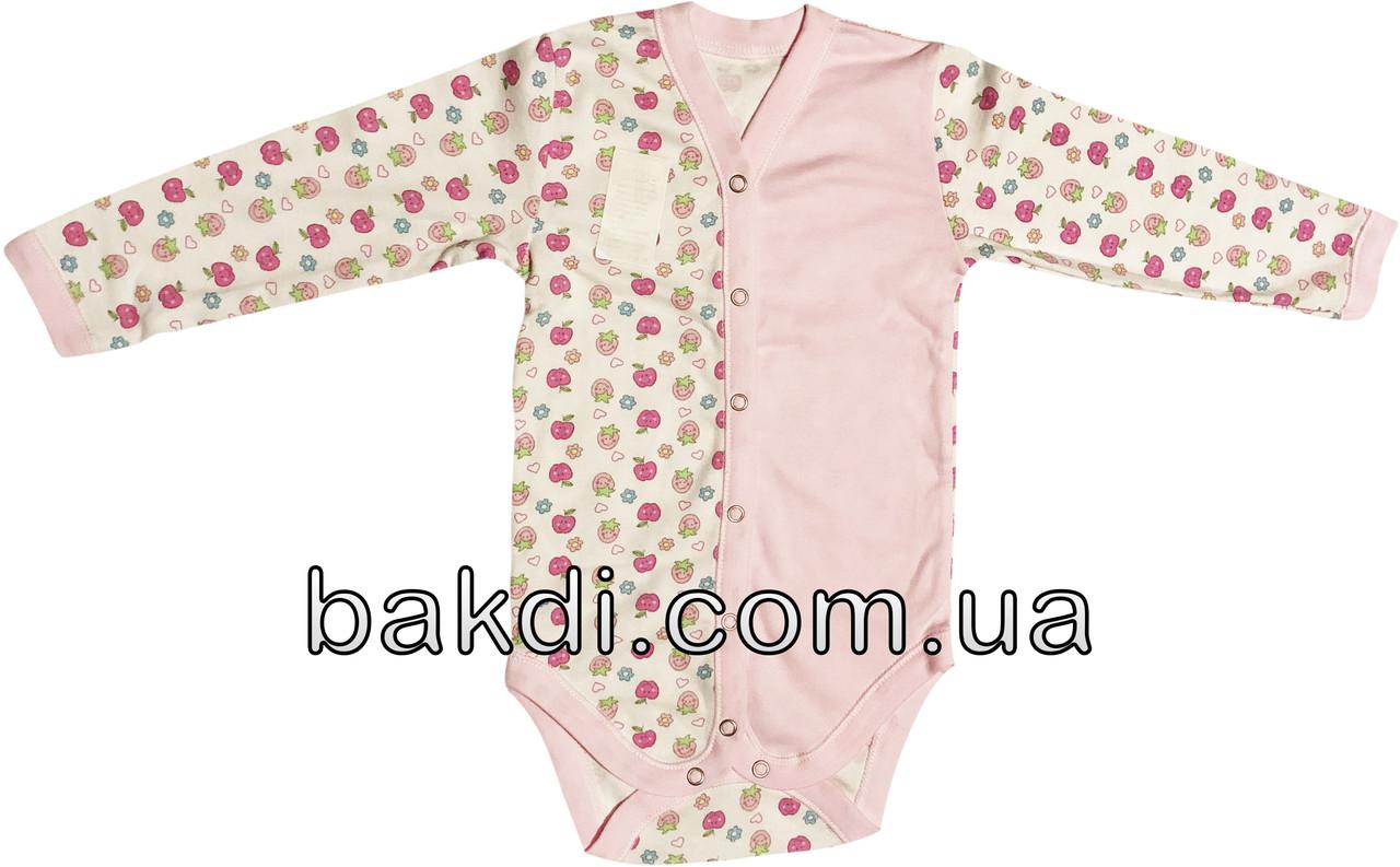 Детское боди на девочку рост 86 1-1,5 года для малышей трикотажное с длинным рукавом интерлок розовое