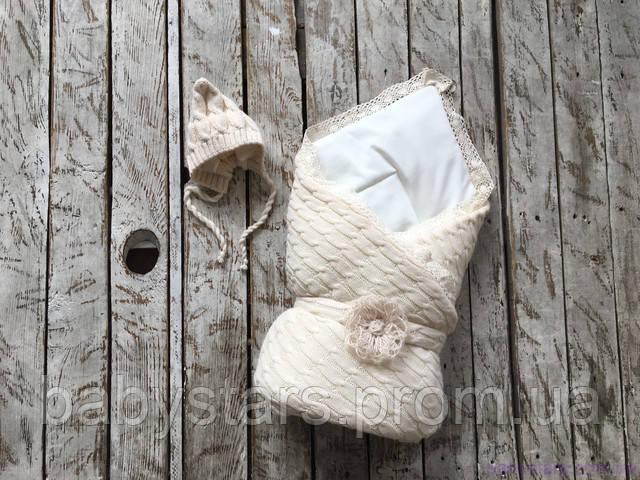 Демисезонный вязаный набор для новорожденного на трикотаже