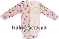 Детское боди рост 74 (6-9 мес.) интерлок розовый на девочку с длинным рукавом для новорожденных Р-042