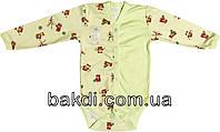Детское боди рост 80 (9 мес.-1 год) интерлок салатовый на мальчика/девочку с длинным рукавом для новорожденных Я-042