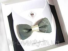 Эксклюзивный галстук - бабочка для мужчины, женщины, мальчика мятный с золотом