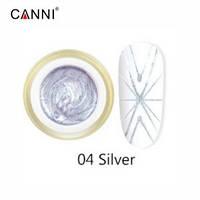 Гель-паутинка №4, серебро | 3D Spider gel Canni