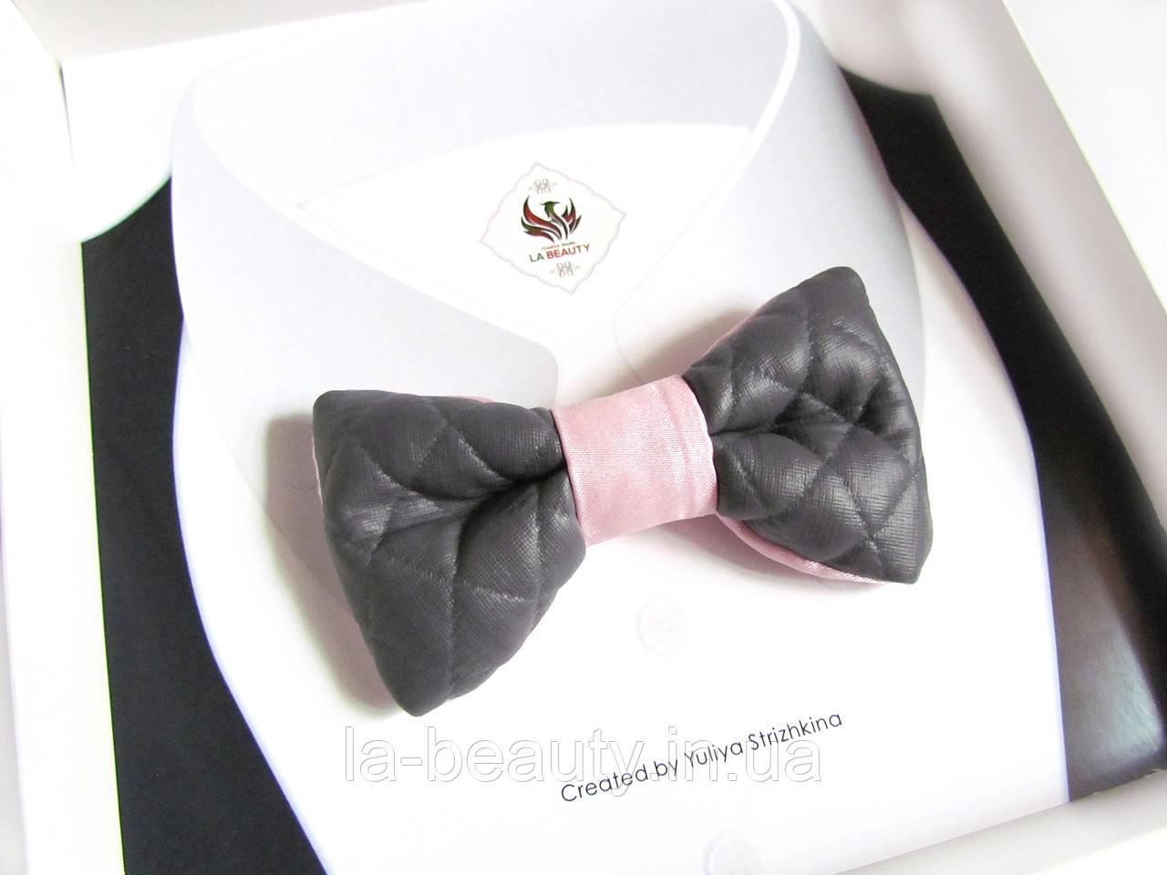Эксклюзивный галстук - бабочка для мужчины, женщины, мальчика серо-розовая