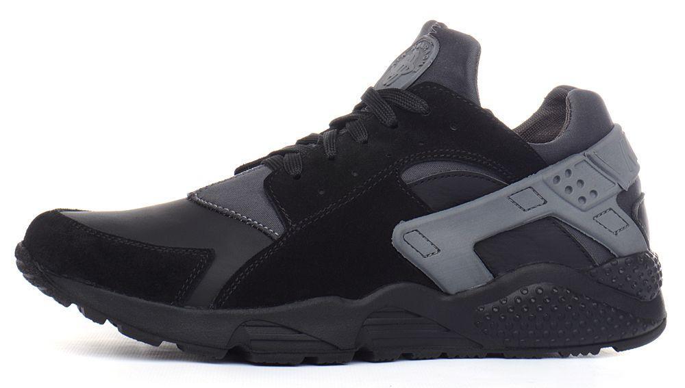 baa56a85 Кроссовки мужские кожаные Nike Huarache black&gray черные c серым, Черный,  40 - LeatherShoes в