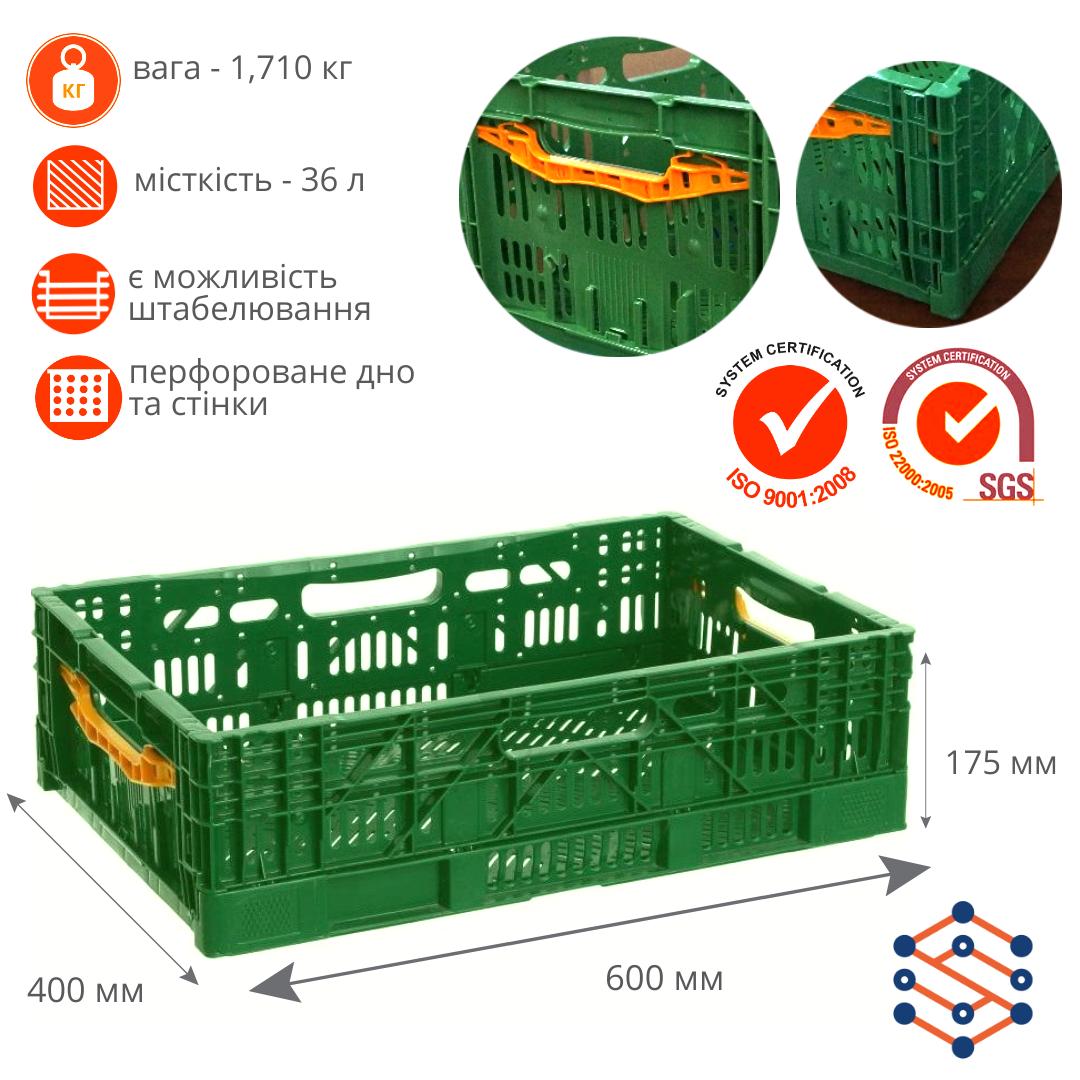 Складной полимерный ящик для овощей и фруктов зеленый 600х400х175 мм