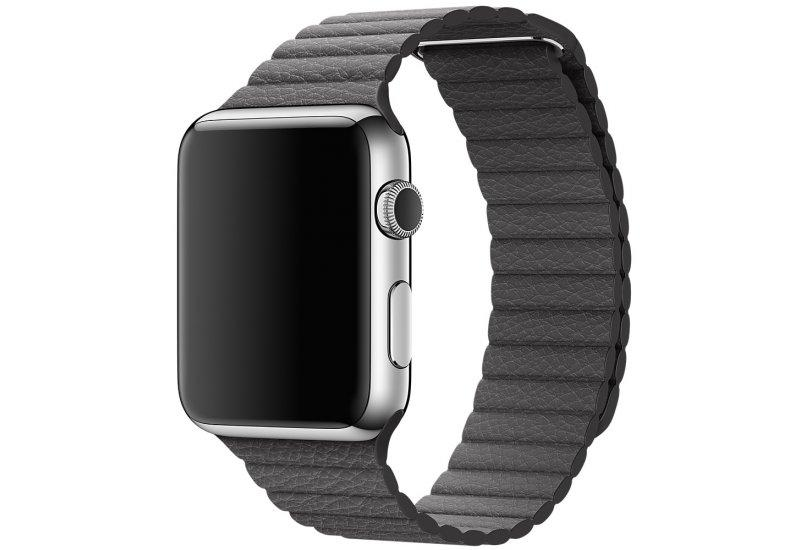 Ремешок Grand для смарт-часов Apple Watch 40mm Stainless Steel Case Grey Leather Loop AL96840mm, КОД: 178704