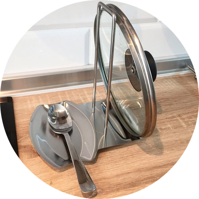 Кухонная подставка для крышки и лопатки из нержавейки