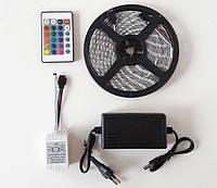 Разноцветная RGB 5050 LED лента 5м с пультом ДУ и Блоком Питания