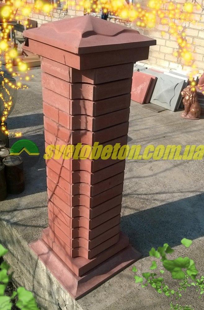 Крышка колпак на столб забора бетонная, шляпка 450х450, плита накрытие парапета колонны из бетона.
