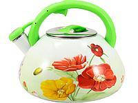 Чайник эмалированный 3 л ЦВЕТЫ со свистком INTEROS 1 L
