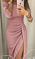 Вечернее платье с разрезом  - люрекс