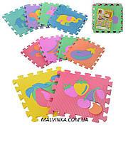 Коврик Мозаика арт 0376  EVA, фрукты-животные, 10 дет (9мм, 30-30см), в кульке, 30-30-8 см
