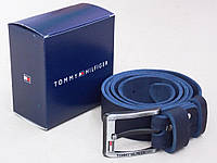 Кожаный мужской ремень Томму синий, фото 1